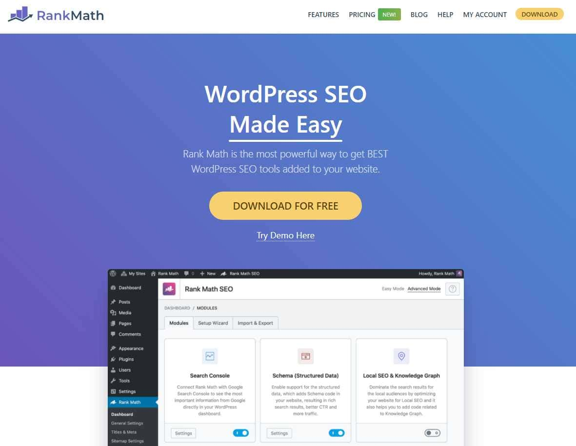 rank math Top 20 SEO Friendly WordPress Plugins