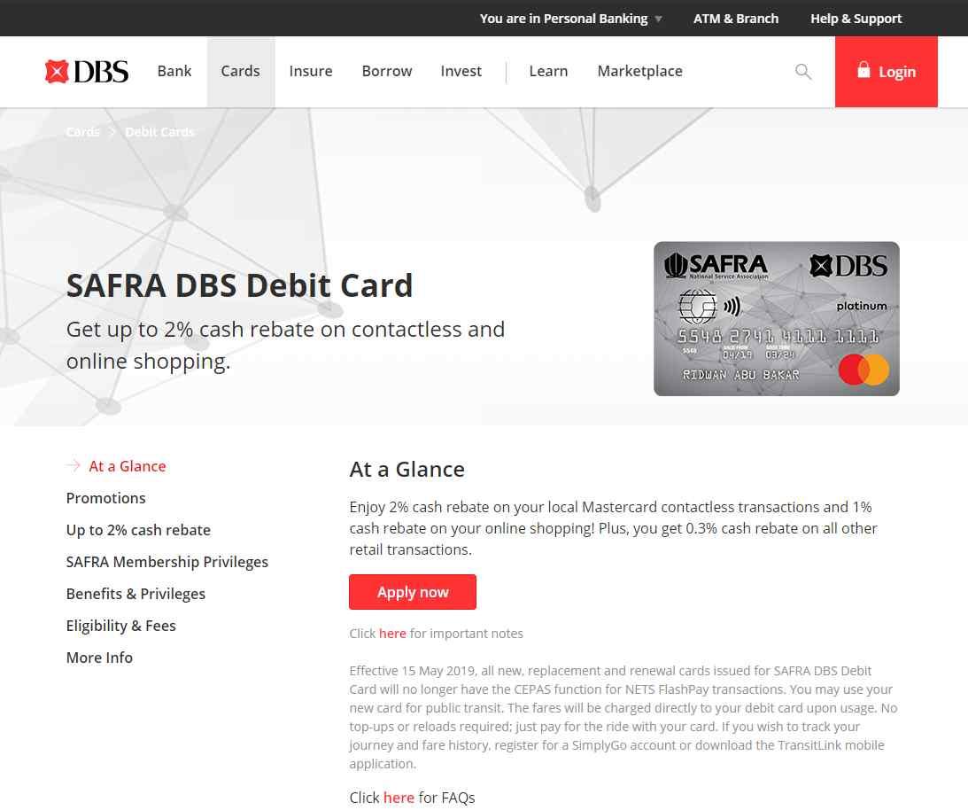 safra Top Debit Cards in Singapore