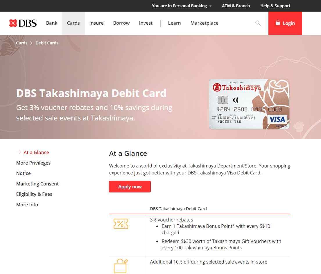 takashimaya Top Debit Cards in Singapore