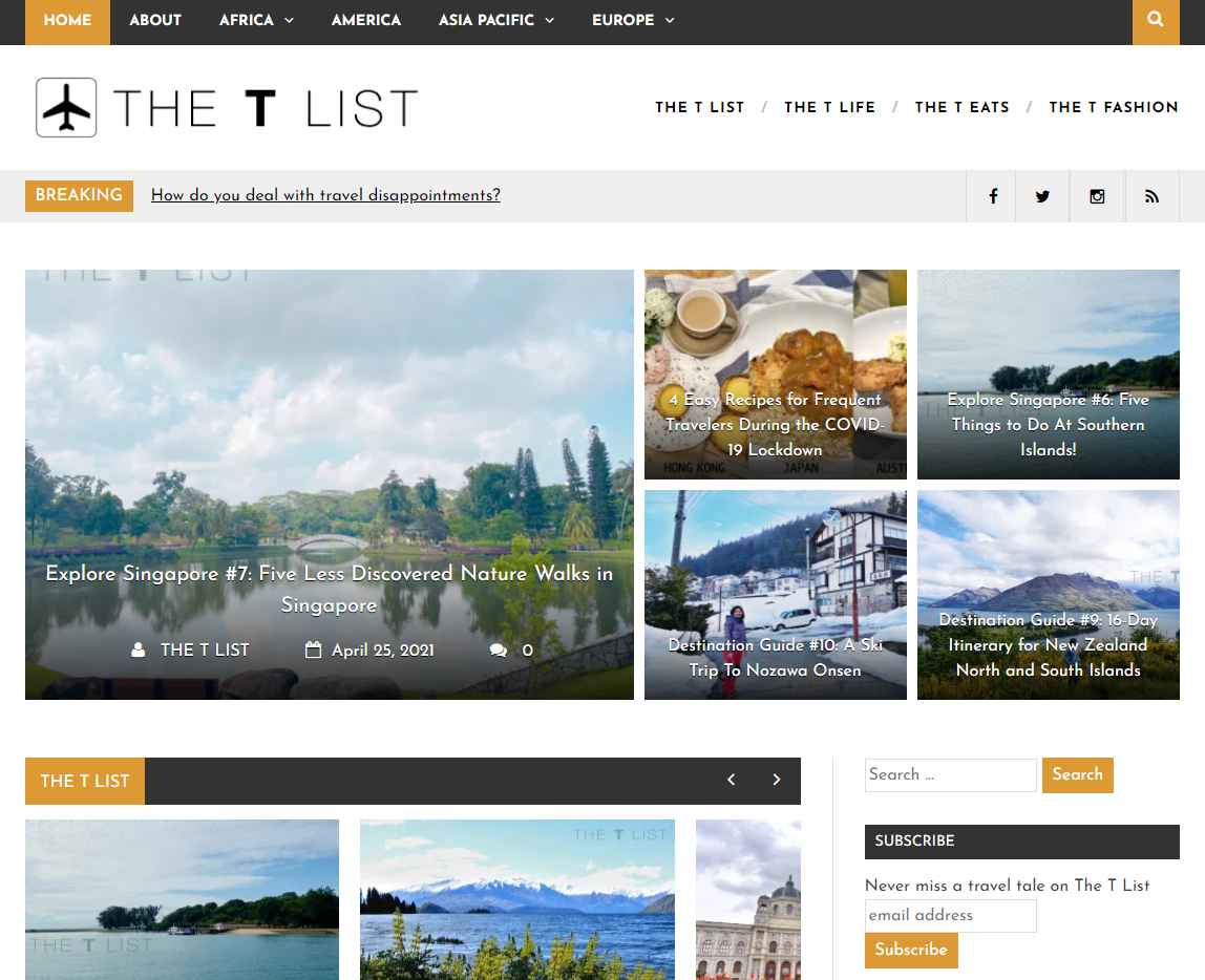 the t list Top Travel Blogs in Singapore