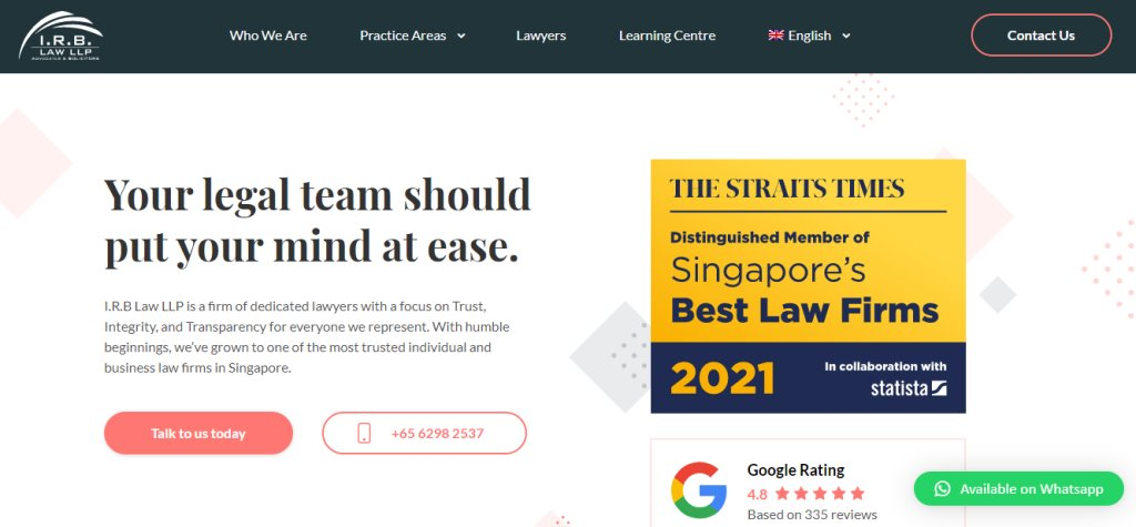 IRB Law Top Bankruptcy Law Service Providers in Singapore