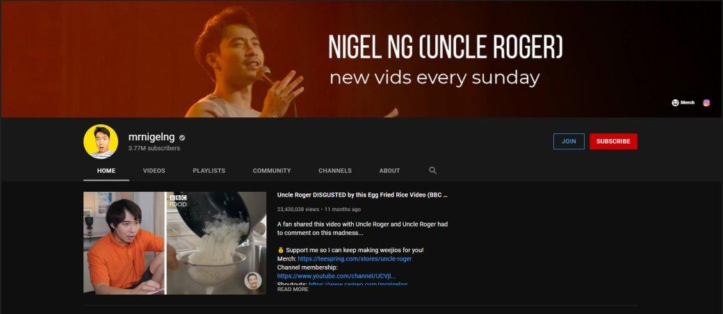 Nigel Nang Top YouTube Channels in Singapore