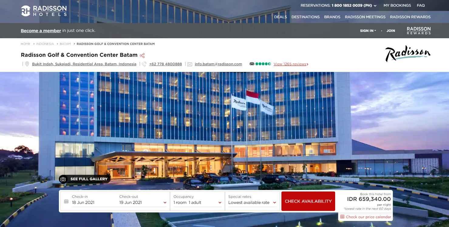 Radisson Hotel Top Batam Hotels and Resorts