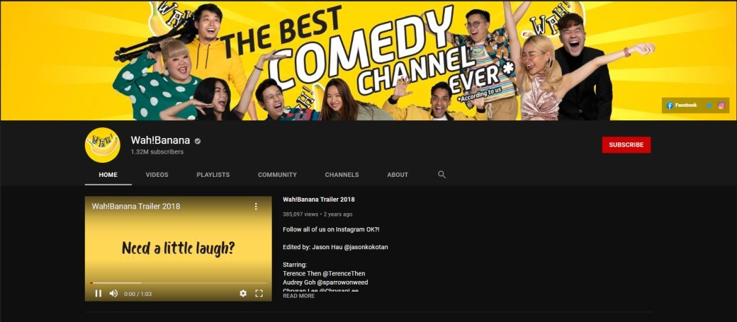 Wah Banana Top YouTube Channels in Singapore