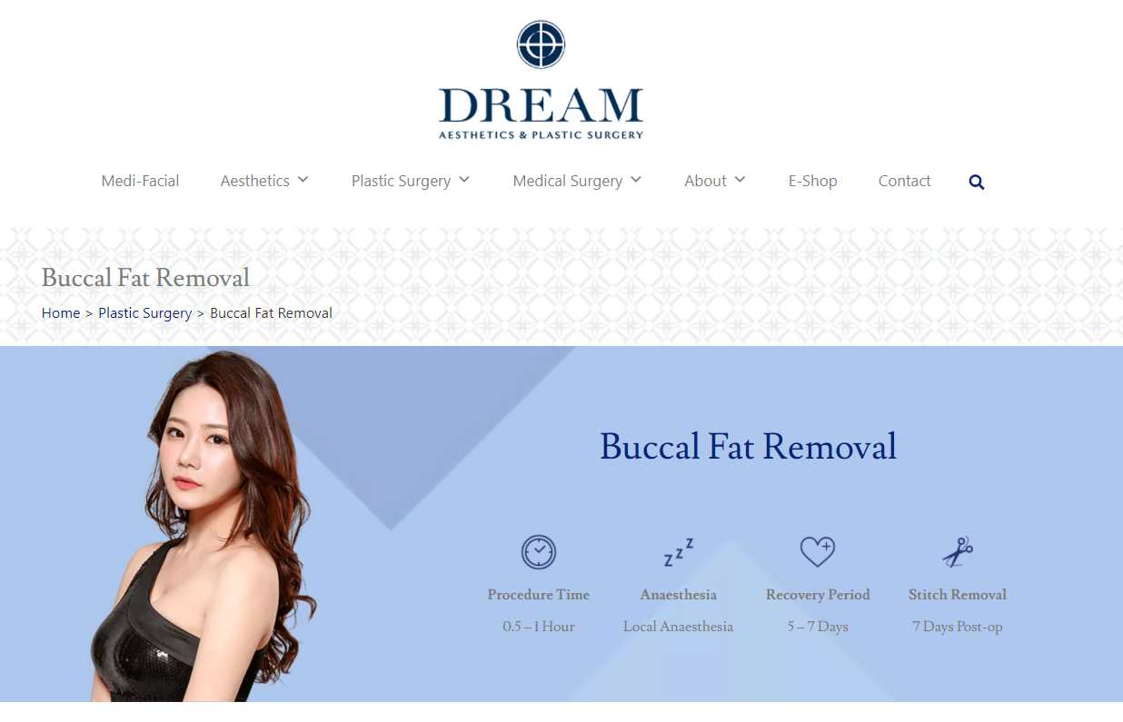dream Top Buccal Fat Removal Clinics in Singapore