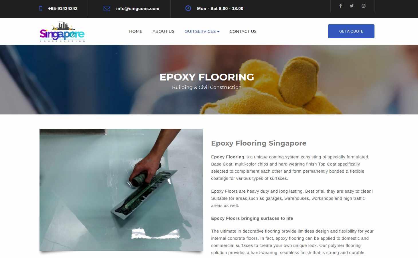 singcons Top Epoxy Flooring Provider in Singapore